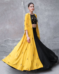 Prathyusha Garimella - Black Top & Skirt With Mustard Cape - INDIASPOPUP.COM