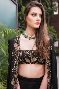Prathyusha Garimella - Black Cape Jacket With Black Top & Drape Skirt - INDIASPOPUP.COM