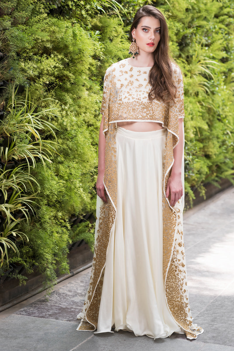 PRATHYUSHA GARIMELLA IVORY HIGH LOW CAPE WITH SATIN SKIRT