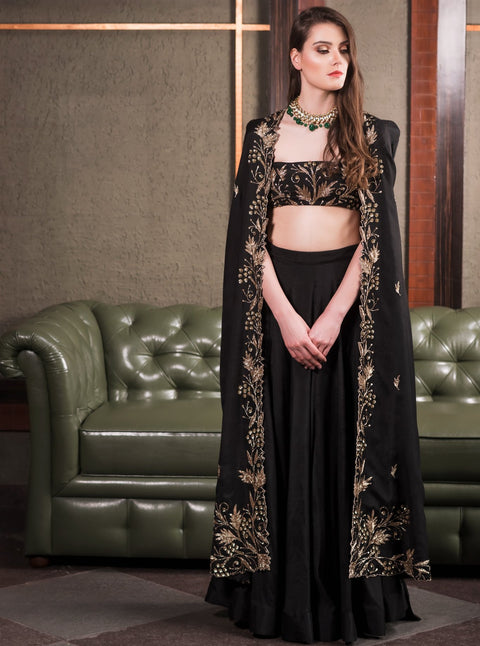 Prathyusha Garimella - Black Cape Jacket With Black Top & Skirt - INDIASPOPUP.COM