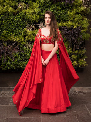 Prathyusha Garimella - Red Two Shoulder Drape With Top & Skirt - INDIASPOPUP.COM