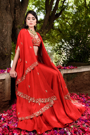 Prathyusha Garimella - Red Lehenga Skirt & Crop Top With Cape - INDIASPOPUP.COM