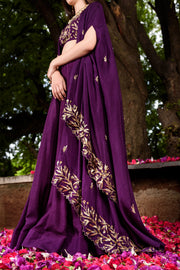 Prathyusha Garimella - Purple Lehenga Skirt & Crop Top With Cape - INDIASPOPUP.COM