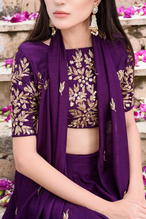 Prathyusha Garimella - Purple Crop Top & Drape Dress - INDIASPOPUP.COM
