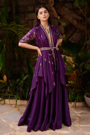 Prathyusha Garimella-Purple Jacket With Skirt & Belt-INDIASPOPUP.COM
