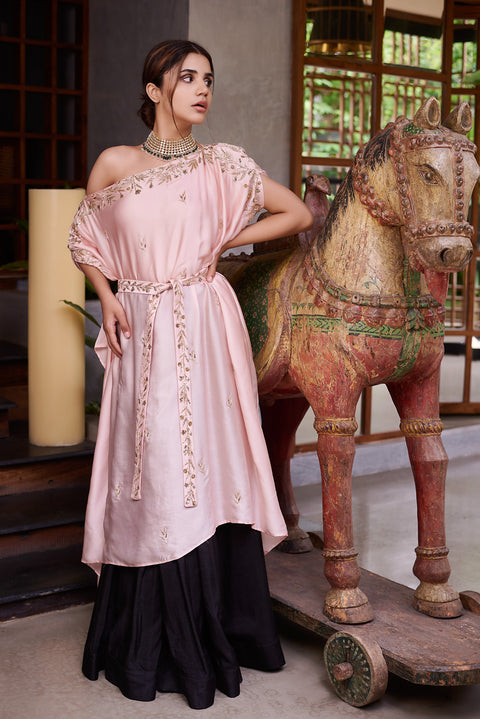 Prathyusha Garimella-Pink Drop Shoulder Top & Belt With Skirt-INDIASPOPUP.COM