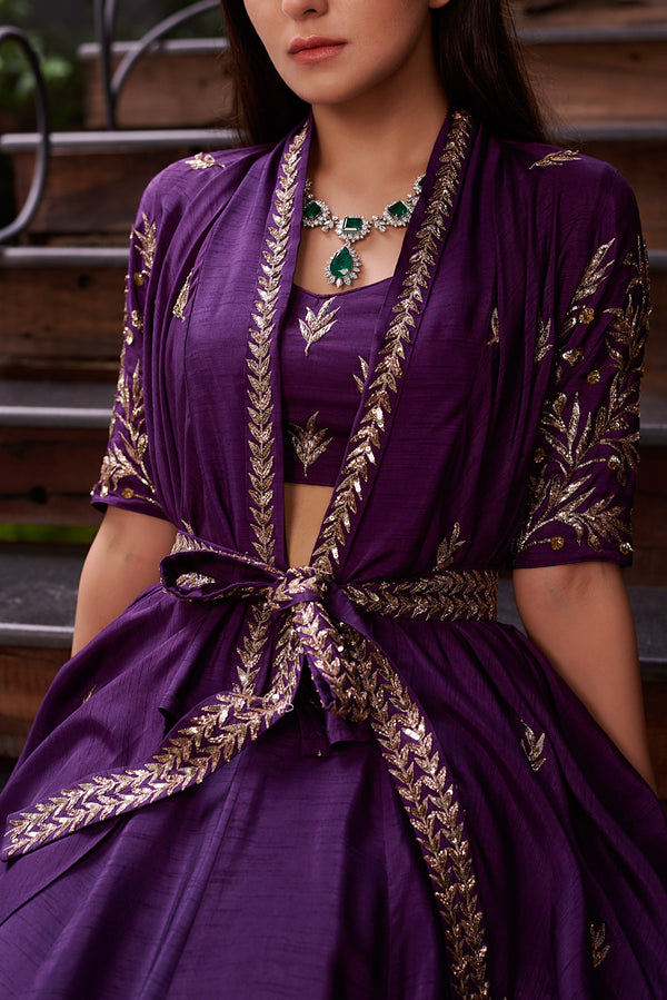 Prathyusha Garimella-Purple Short Jacket With Crop Top & Skirt-INDIASPOPUP.COM