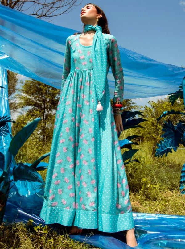 Paulmi & Harsh-Aqua Blue Anarkali Set-INDIASPOPUP.COM