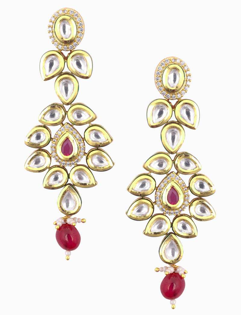 Polki Box Jewelry - Gold Plated Red Drop Earrings - INDIASPOPUP.COM