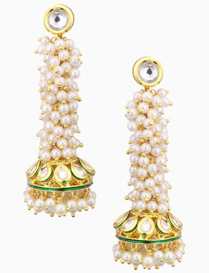 Polki Box Jewelry - Gold Plated Pearl Earrings - INDIASPOPUP.COM