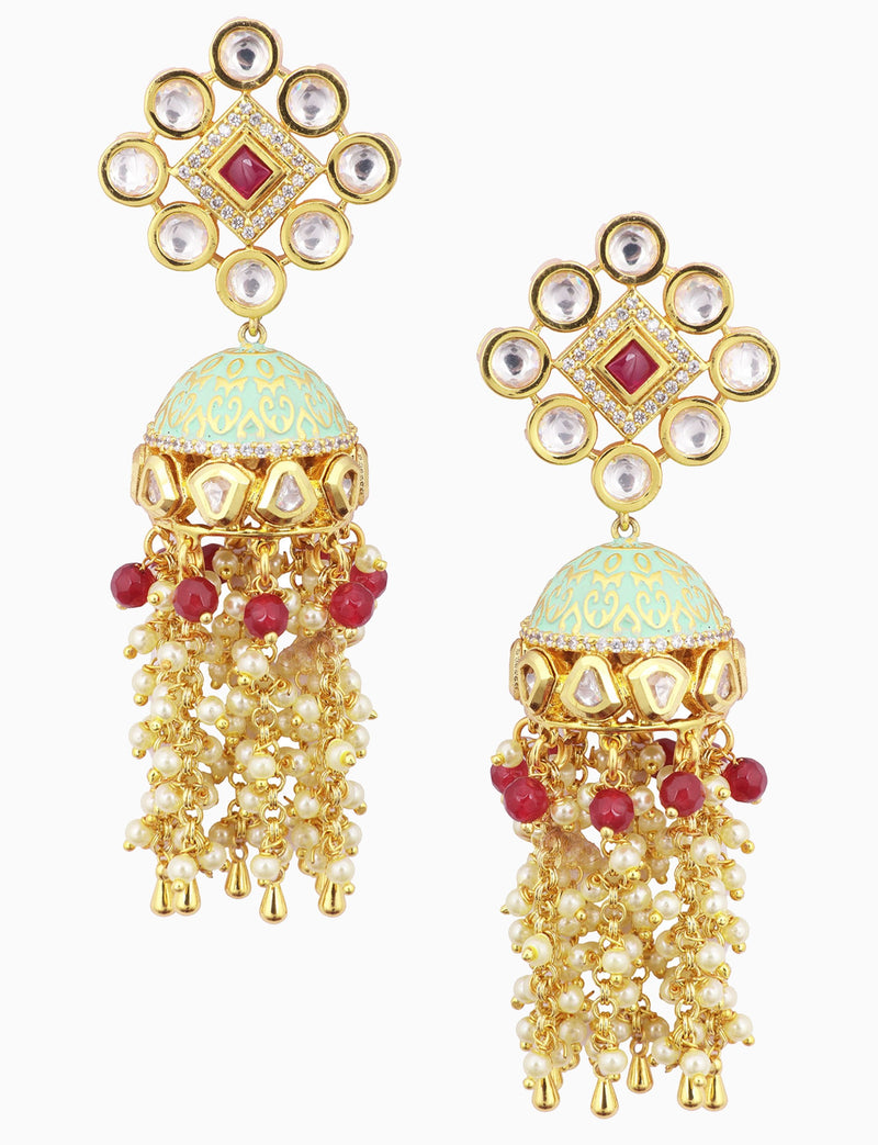 Polki Box Jewelry - Gold Plated Six Layers Pearl Earrings - INDIASPOPUP.COM