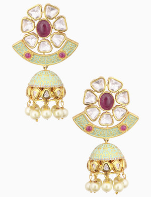 Polki Box Jewelry - Gold Plated Red Round Pearl Earrings - INDIASPOPUP.COM