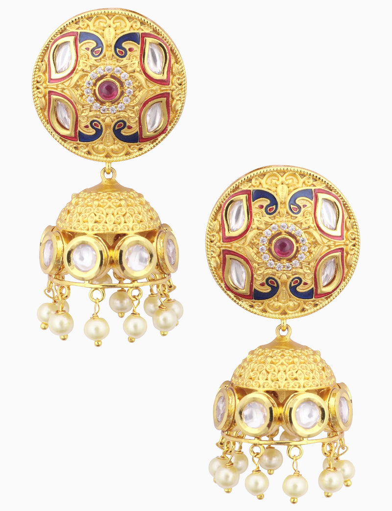 Polki Box Jewelry - Gold Plated Round Pearl Earrings - INDIASPOPUP.COM