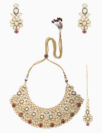 Polki Box Jewelry - Gold Plated Flower Motif Necklace Set - INDIASPOPUP.COM