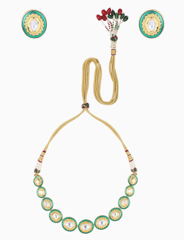 Polki Box Jewelry - Gold Plated Single Layer Necklace Set - INDIASPOPUP.COM