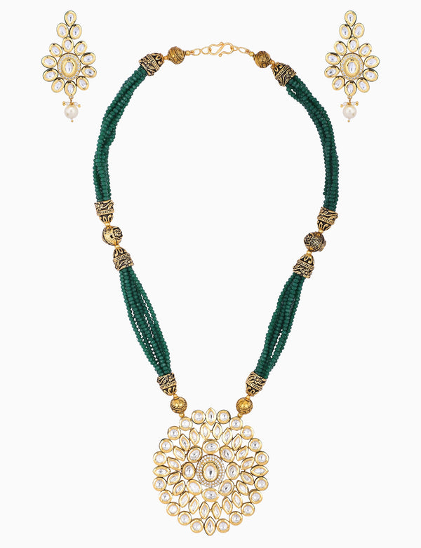 Polki Box Jewelry - Gold Plated & Emerald Pearls Necklace Set - INDIASPOPUP.COM