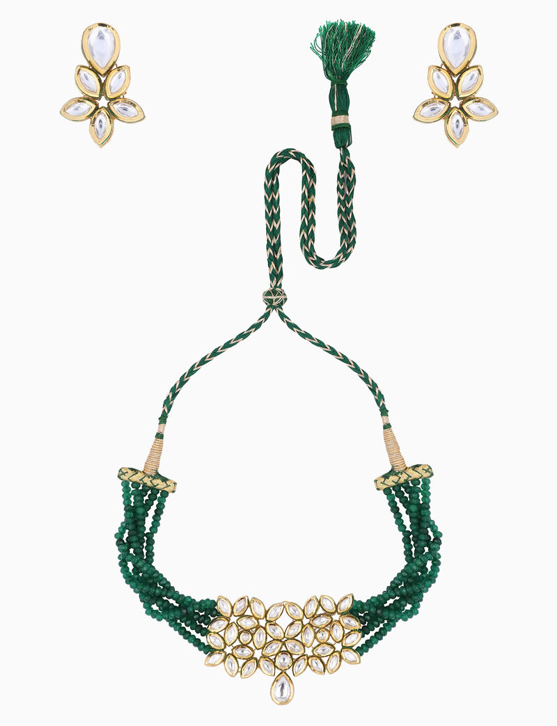 Polki Box Jewelry - Green & Gold Plated Choker Set - INDIASPOPUP.COM