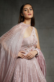Pink Peacock Couture-Pink Gown With Cape-INDIASPOPUP.COM