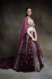 Pink Peacock Couture-Wine Embroidered Lehenga-INDIASPOPUP.COM
