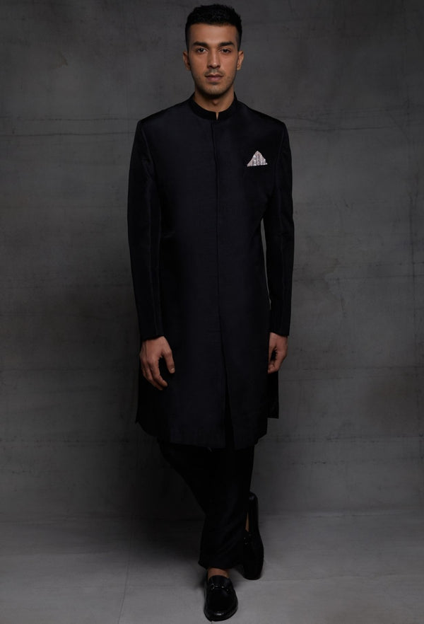 Pink Peacock Couture-Black Sherwani With Pocket Square-INDIASPOPUP.COM