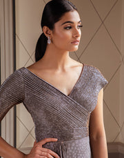 Pernia Qureshi - Grey Asymmetrical Draped Gown - INDIASPOPUP.COM
