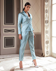 Pernia Qureshi - Metallic Blue Embroidered Jacket - INDIASPOPUP.COM