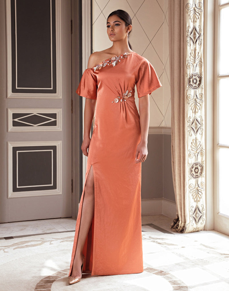 Pernia Qureshi - Dusty Orange One-Shoulder Kaftan - INDIASPOPUP.COM