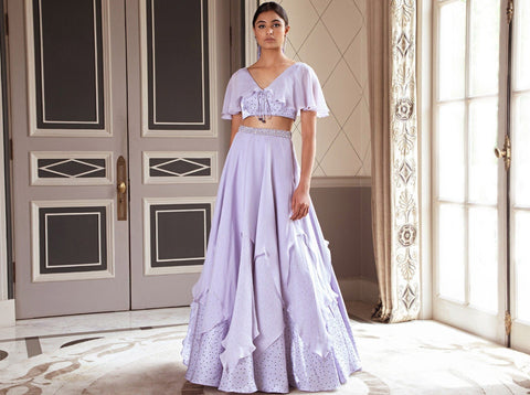 Pernia Qureshi - Metallic Lilac Layered Lehenga Set - INDIASPOPUP.COM