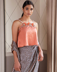 Pernia Qureshi - Dusty Orange Embroidered Top - INDIASPOPUP.COM