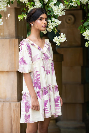 Pernia Qureshi - Ivory Fern Print Gather Dress - INDIASPOPUP.COM