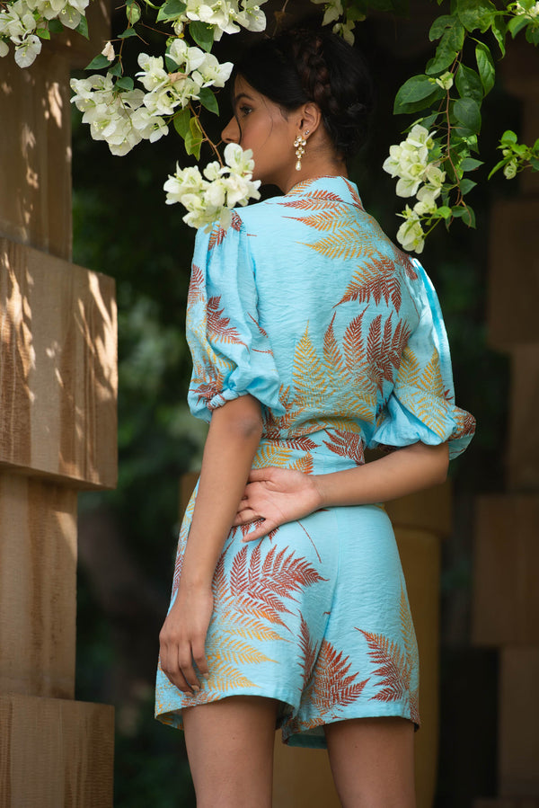 Pernia Qureshi - Blue Gathered Print Tie Up Shirt - INDIASPOPUP.COM