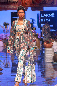 Payal Singhal-White & Brown Printed Jacket Set-INDIASPOPUP.COM