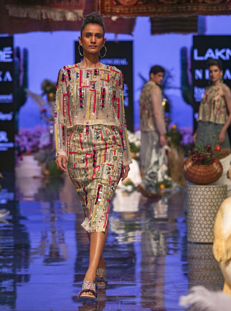 Payal Singhal-Stone Embroidered Skirt Set-INDIASPOPUP.COM