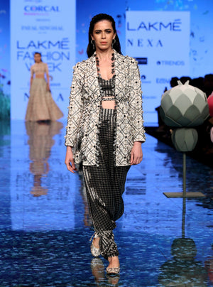 Payal Singhal-Chalk White & Black Embroidered Jacket Set-INDIASPOPUP.COM