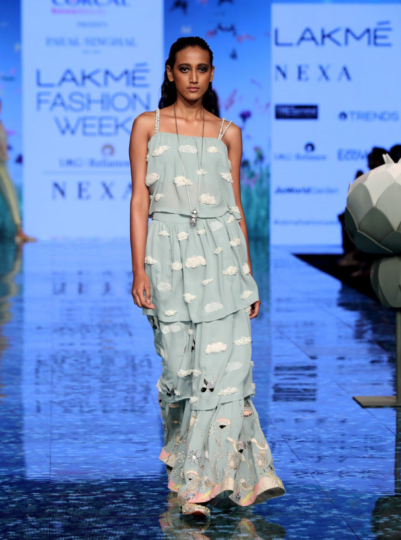 Payal Singhal-Pale Blue Embroidered Sharara Set-INDIASPOPUP.COM