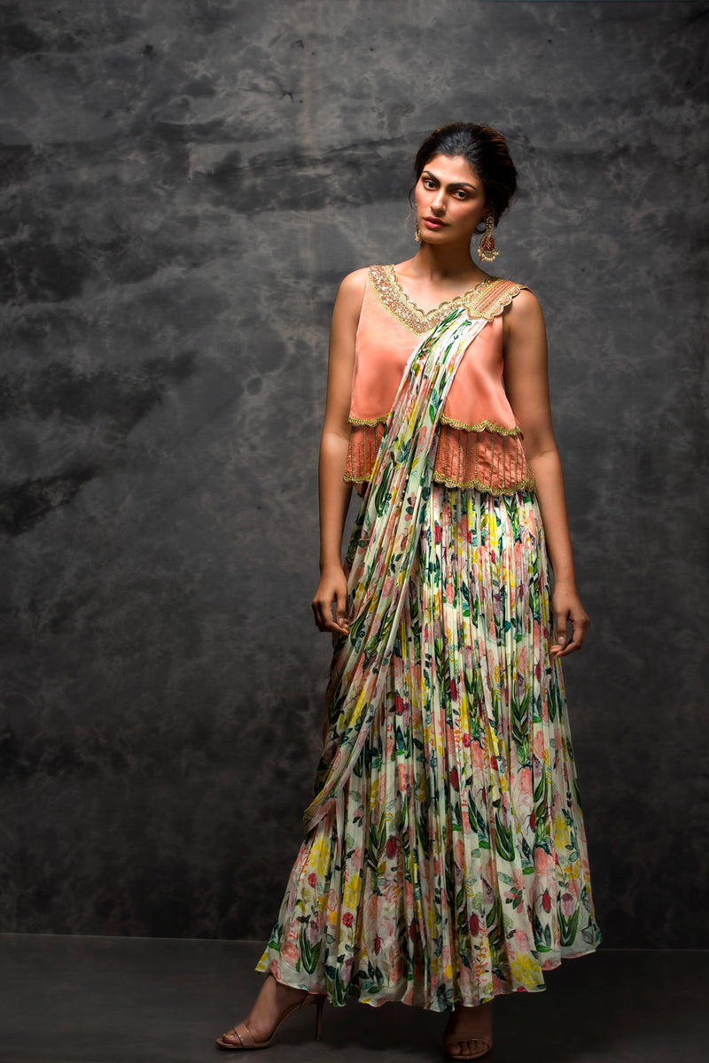 Pooja Sampat-Peach Prestiched Sari With Croptop-INDIASPOPUP.COM