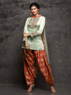 Pooja Sampat-Pista & Orange Tunic With Patiala Bottom-INDIASPOPUP.COM