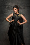 Pooja Sampat-Black Prestiched Lungisari With Top-INDIASPOPUP.COM