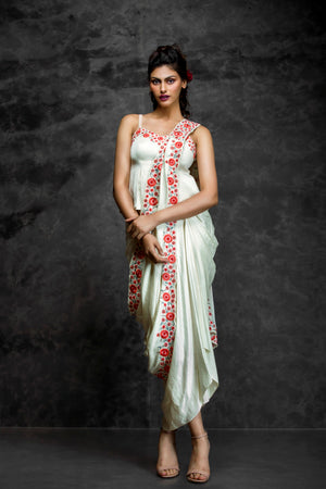 Pooja Sampat-Ivory Prestiched Lungisari With Top-INDIASPOPUP.COM