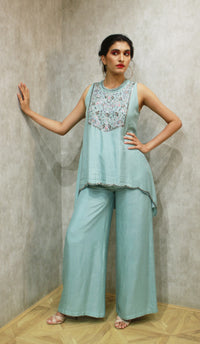 Pooja Sampat-Sea Blue Tunic With Palazzo-INDIASPOPUP.COM