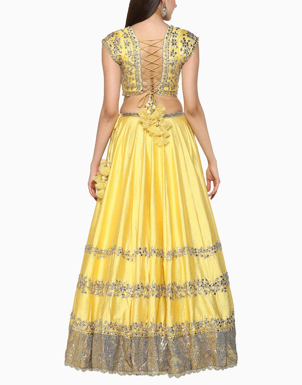 Preeti S Kapoor - Yellow Embroidered Lehenga Set - INDIASPOPUP.COM