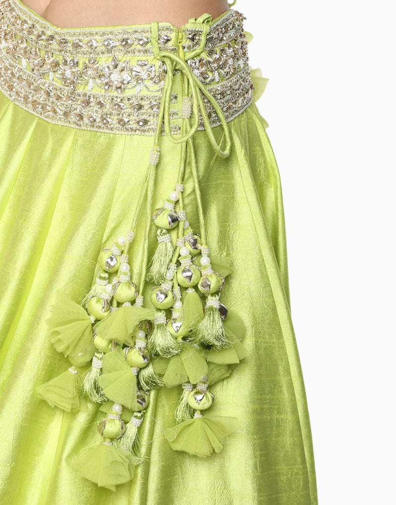 Preeti S Kapoor - Green Embroidered Lehenga Set - INDIASPOPUP.COM