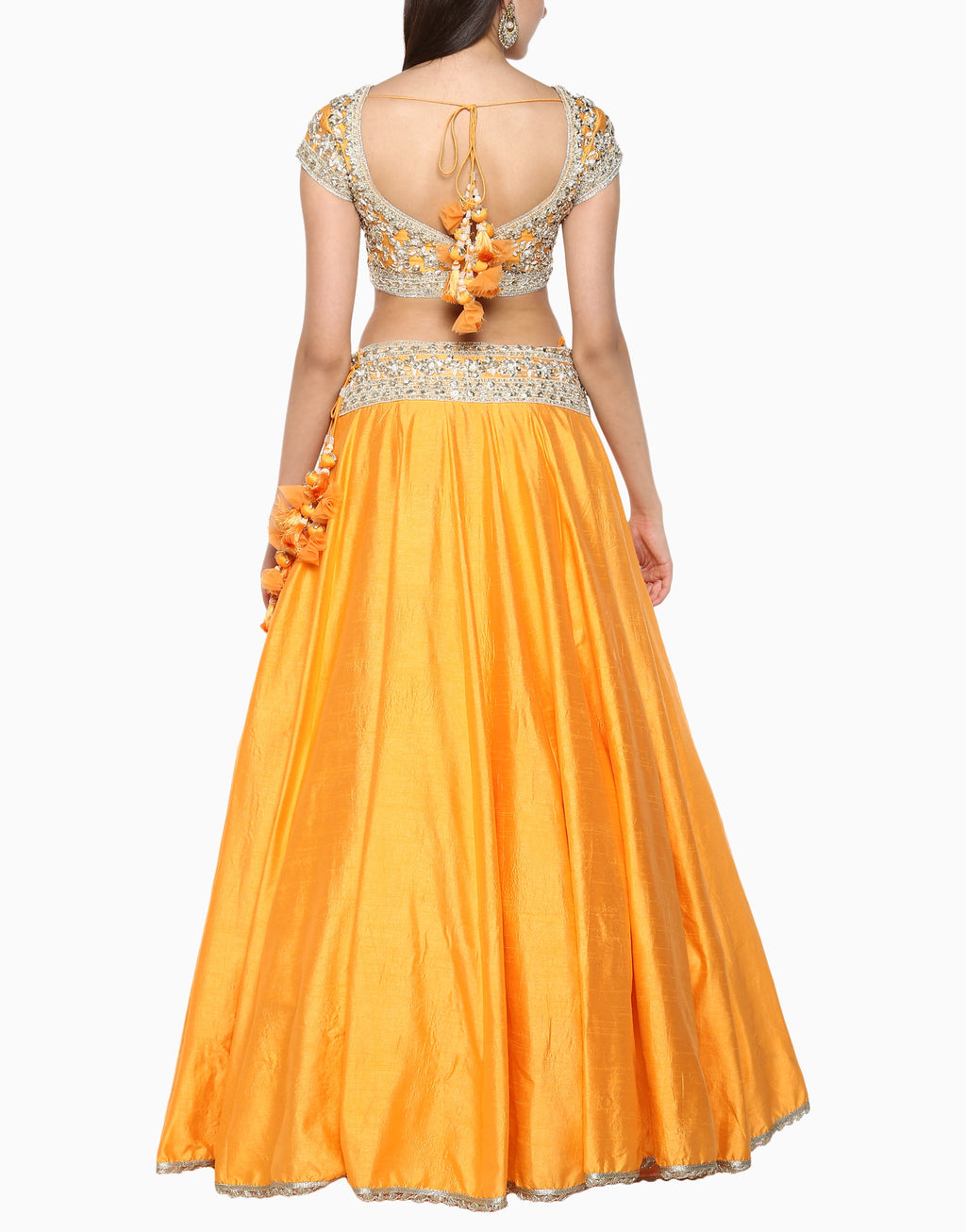 Preeti S Kapoor - Orange Embroidered Lehenga Set - INDIASPOPUP.COM