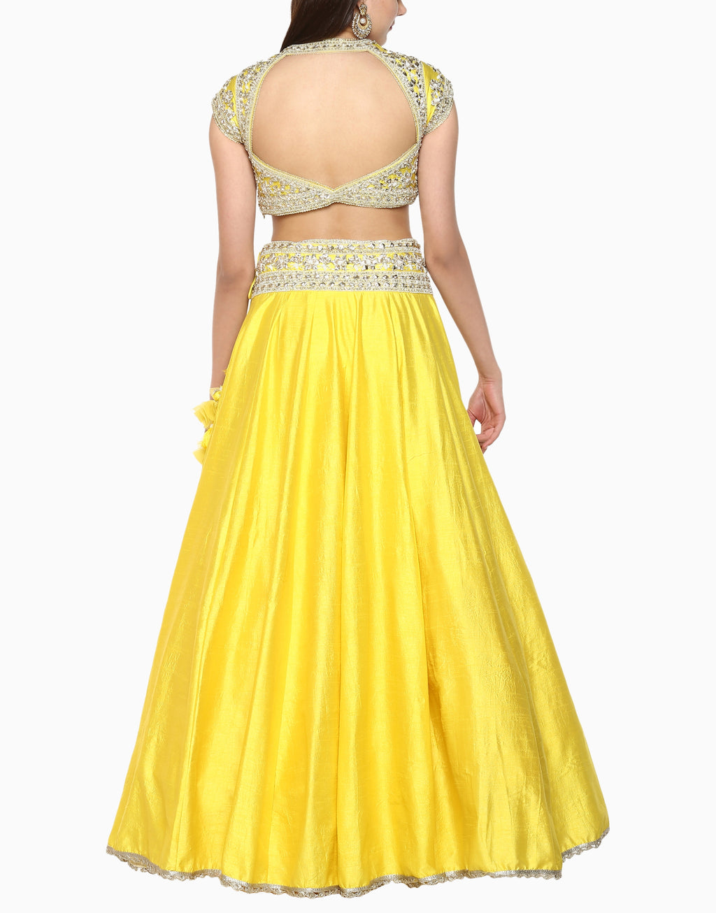 Preeti S Kapoor - Lime Yellow Embroidered Lehenga Set - INDIASPOPUP.COM