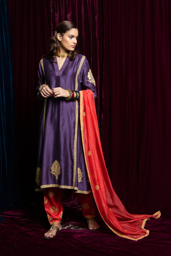 Payal Pratap-Purple & Red Kurta With Pants-INDIASPOPUP.COM