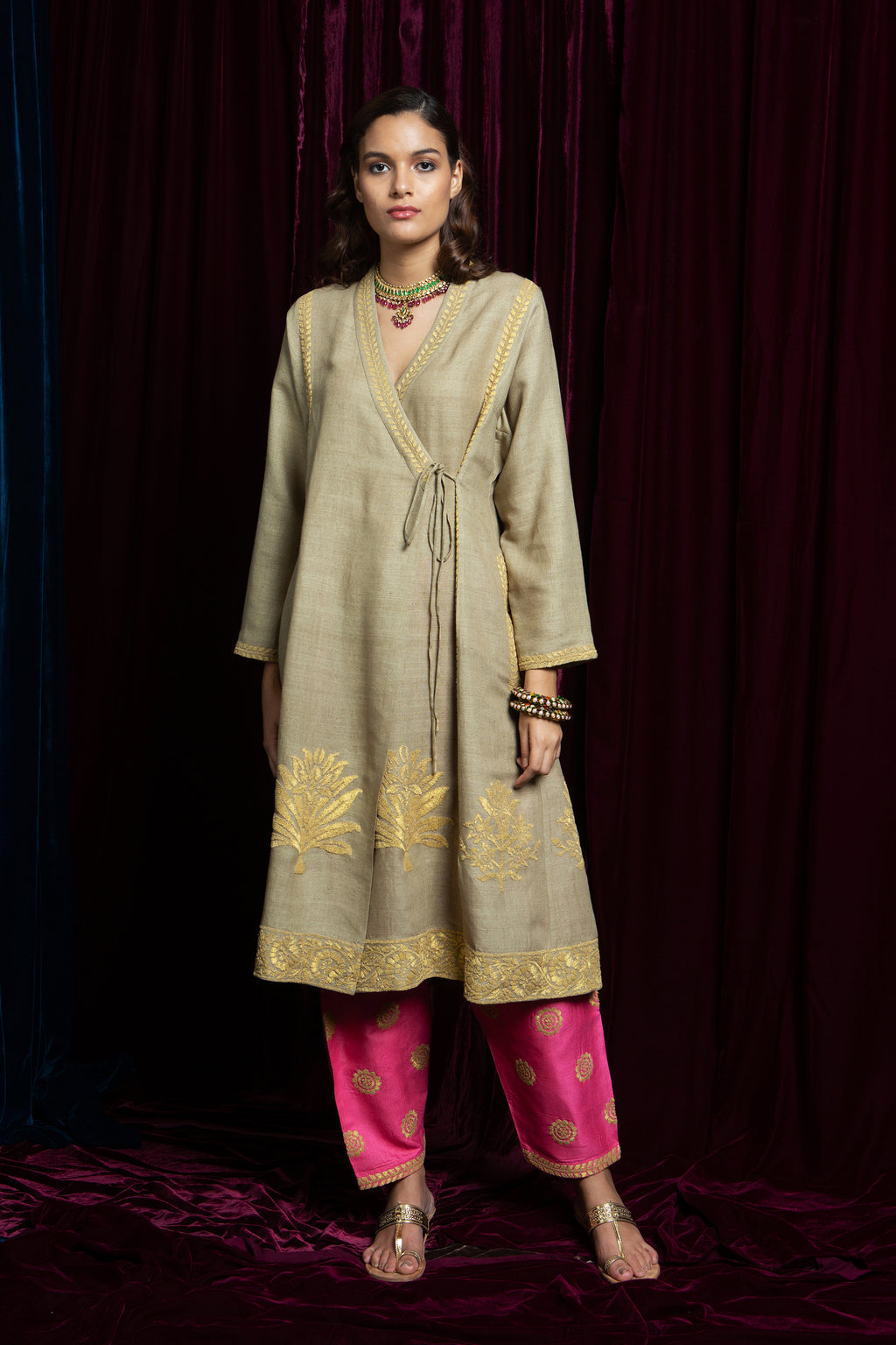 Beige & Pink Kurta With Pants