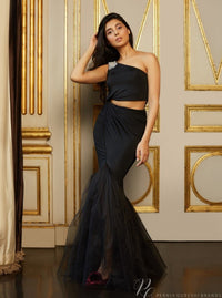 Pernia Qureshi - Black Draped One-Shoulder Fish-Tail Gown - INDIASPOPUP.COM