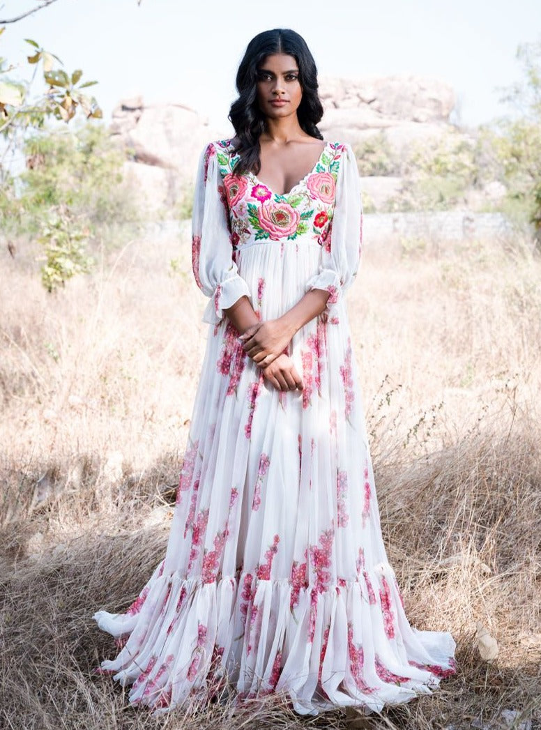 Mrunalini Rao - Off-White Embroidered Maxi Gown - INDIASPOPUP.COM