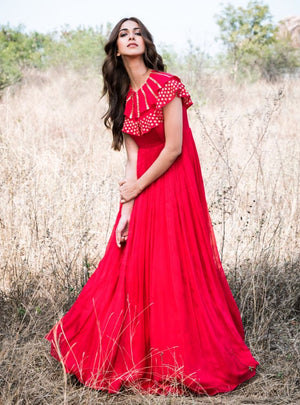 Mrunalini Rao - Red Embroidered Long Cape Gown - INDIASPOPUP.COM