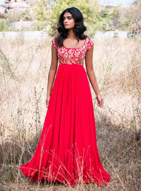 Mrunalini Rao - Red Embroidered Maxi Gown - INDIASPOPUP.COM